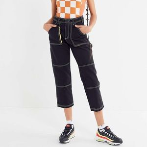 BDG Maura Contrast Stitch Cropped Utility Jeans